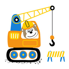 A little monkey cartoon on construction vehicle. Eps 10