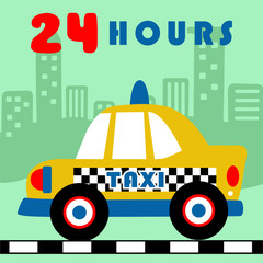 Yellow taxi cartoon on buildings background. Eps 10