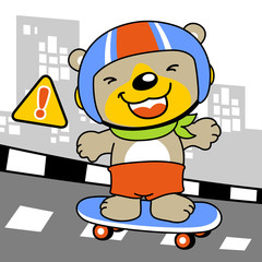 Funny skateboarder cartoon. Eps 10