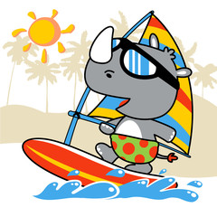 Rhino cartoon on windsurf. Eps 10
