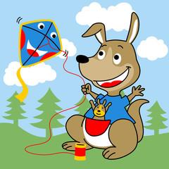Playing kite with kangaroo family cartoon. Eps 10