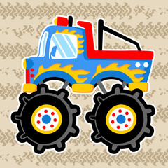 Monster truck cartoon on tire tracks background. Eps 10