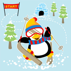 Cute penguin skiing cartoon. Eps 10