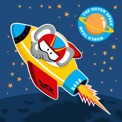 Go to space with funny elephant cartoon. Eps 10