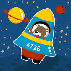 Cute astronaut cartoon on spacecraft. Eps 10