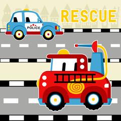 Cartoon of rescue team vehicles. Eps 10