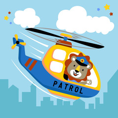 Cute pilot on helicopter cartoon. Eps 10