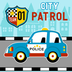 Police car cartoon in the road. Eps 10