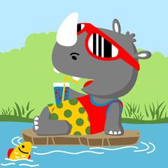 Funny rhino cartoon. Eps 10