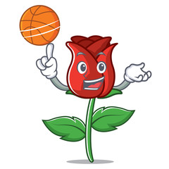 With basketball red rose character cartoon