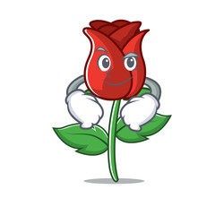 Smirking red rose character cartoon