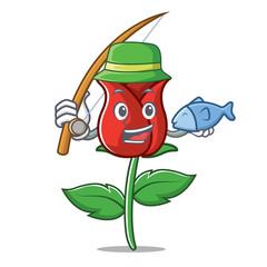 Fishing red rose mascot cartoon