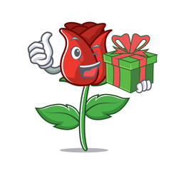 With gift red rose mascot cartoon