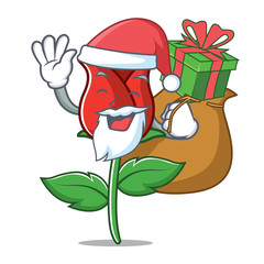 Santa with gift red rose mascot cartoon