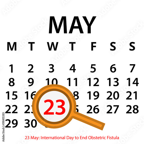 Simple vector calendar  May 23th  Commemorate the