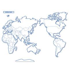 セカイ地図 シンプル白地図