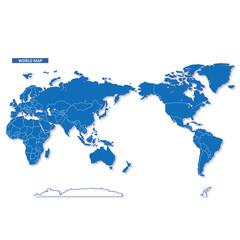 セカイ地図 シンプル青