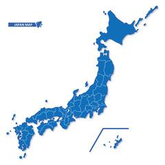 ニホン地図 シンプル青