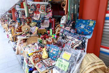 Street souvenir shops at Gwanghalluwon Pavilion in spring