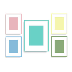 Set of colorful photo frames on the wall for your design. Vector.