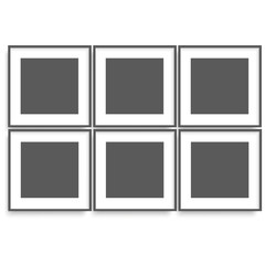 Set of black photo frames on the wall for your design. Vector.