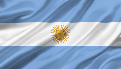 Argentina flag waving with the wind, 3D illustration.