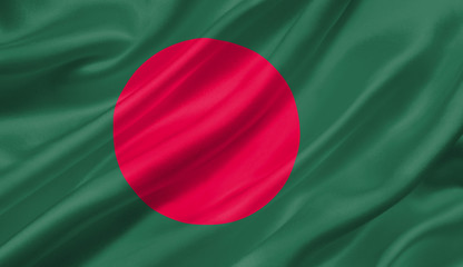 Bangladesh flag waving with the wind, 3D illustration.