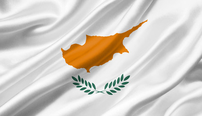 Cyprus flag waving with the wind, 3D illustration.