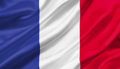 France flag waving with the wind, 3D illustration.