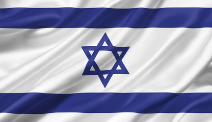 Israel flag waving with the wind, 3D illustration.