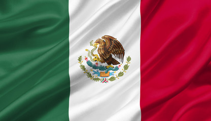 Mexico flag waving with the wind, 3D illustration.