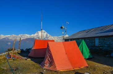Tents on mountain of Annapurna Range