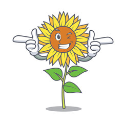 Wink sunflower character cartoon style