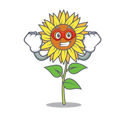 Super hero sunflower character cartoon style