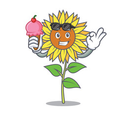 With ice cream sunflower character cartoon style
