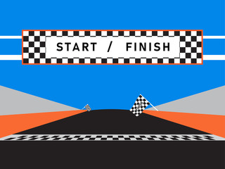 Finish line and checkered flag of race car event in a racetrack with a blue background.  Vector illustration. EPS10