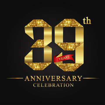 anniversary, aniversary, 39 years anniversary celebration logotype. Logo,ribbon golden number on red background.Numbers ribbon gold foil.