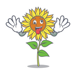 Crazy sunflower mascot cartoon style