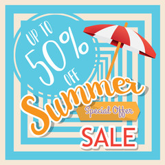 Summer sale banner, Special offer at discount up to 50% off. Vector illustration design. EPS10