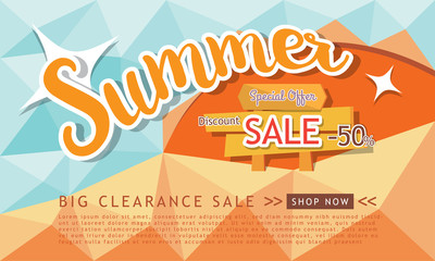 Summer sale template banner, Special offer at discount up to 50% off. Vector illustration design. EPS10
