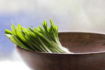 fresh leek leaves in a bowl close
