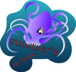 T-shirt design, octopus catches summer summer here illustration