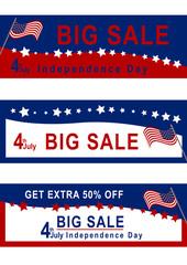 Sale Banner für den 4. Juli mit amerikanischer Flagge in rot, blau und weiß. Eps 10 Vektor-Datei