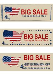 Sale Banner für den amerikanischen Unabhängigkeitstag mit Kartenausschnitt und Flagge. Eps 10 Vektor-Datei