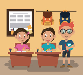 Kids students at classroom cartoon vector illustration graphic design