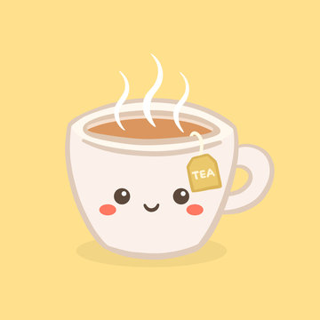 Cute Kawaii Hot Tea Cup Teabag Vector Illustration Cartoon Character Icon Design
