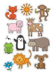 Cartoon Animals Stickers Vector Set