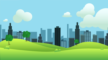Meadow landscape with city on background vector illustration.Public park and town with sky background.Beautiful nature scene.