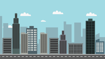 Cityscape with sky background vector illustration.Town design with main street and clouds.Street road with city landscape.