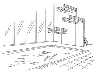 Swimming pool tower graphic black white interior sketch illustration vector